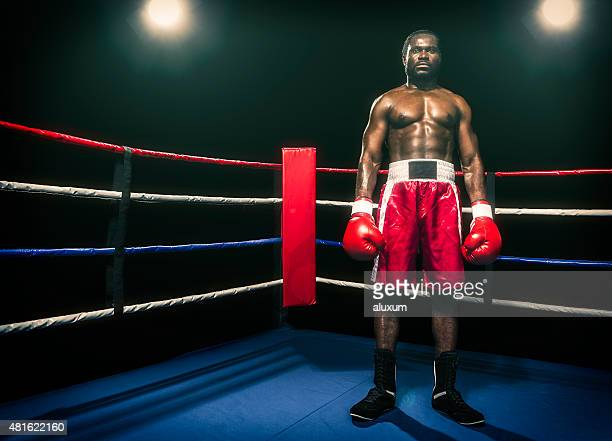 African descent boxer in boxing ring