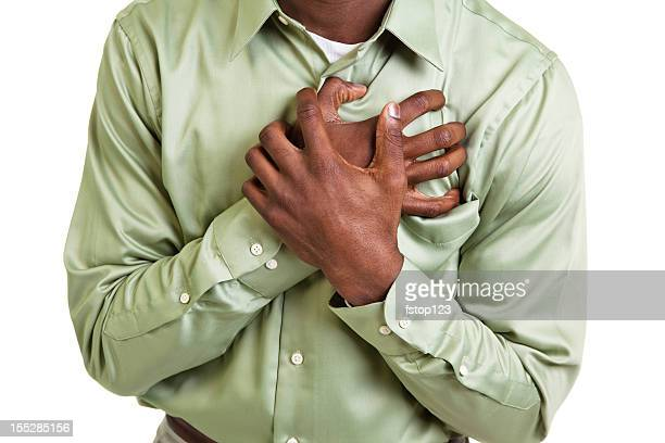 African descent man clutching his chest. Pain, heart attack. Male.