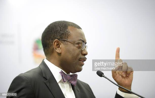 African Development Bank President Akinwumi Adesina addresses a press conference at the the African Development Bank General Meeting 2017 in...