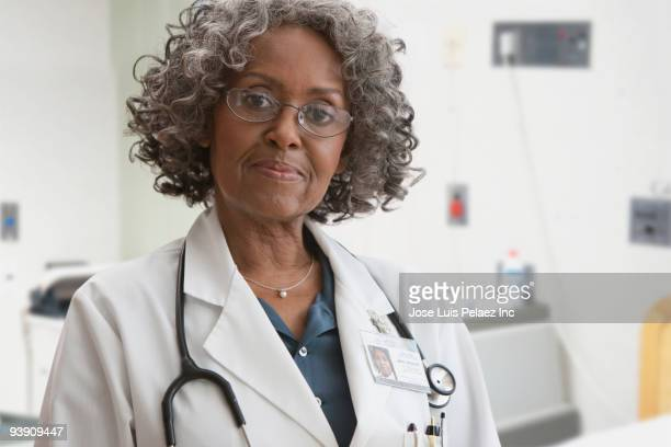 African doctor looking serious