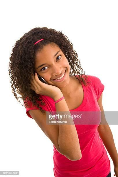 Origem Africana Menina adolescente No Telefone