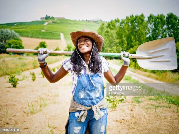 African farmer woman in Italian countryside