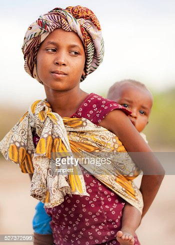 African Girl with a Baby Sling