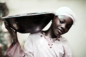 african girl with bowl