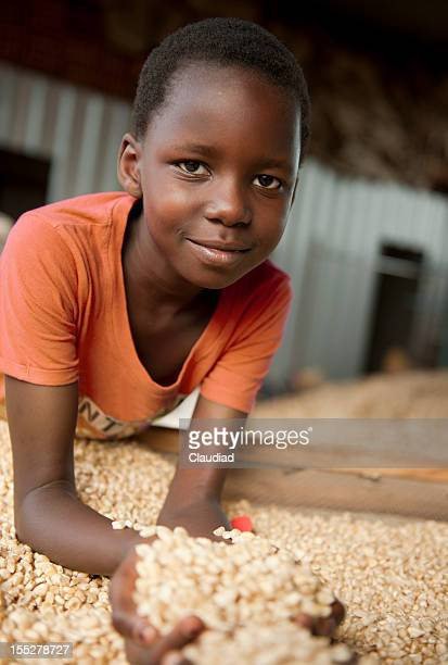 African girl with corn