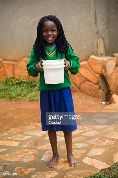 African girl with water