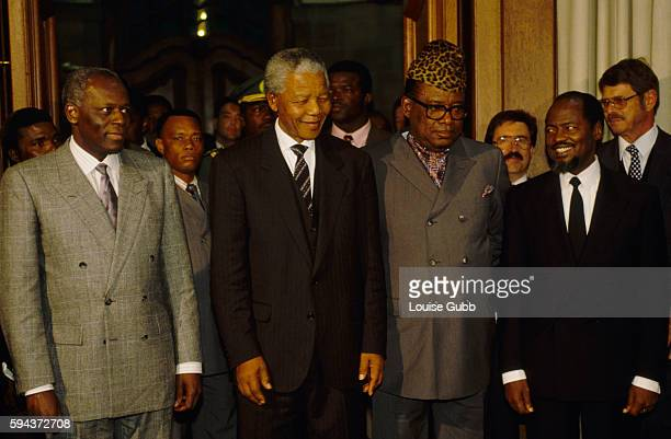 African leaders at the President's Summit Jose Eduardo dos Santos Nelson Mandela Mobutu Sese Seko and Joaquim Alberto Chissano during peace talks for...