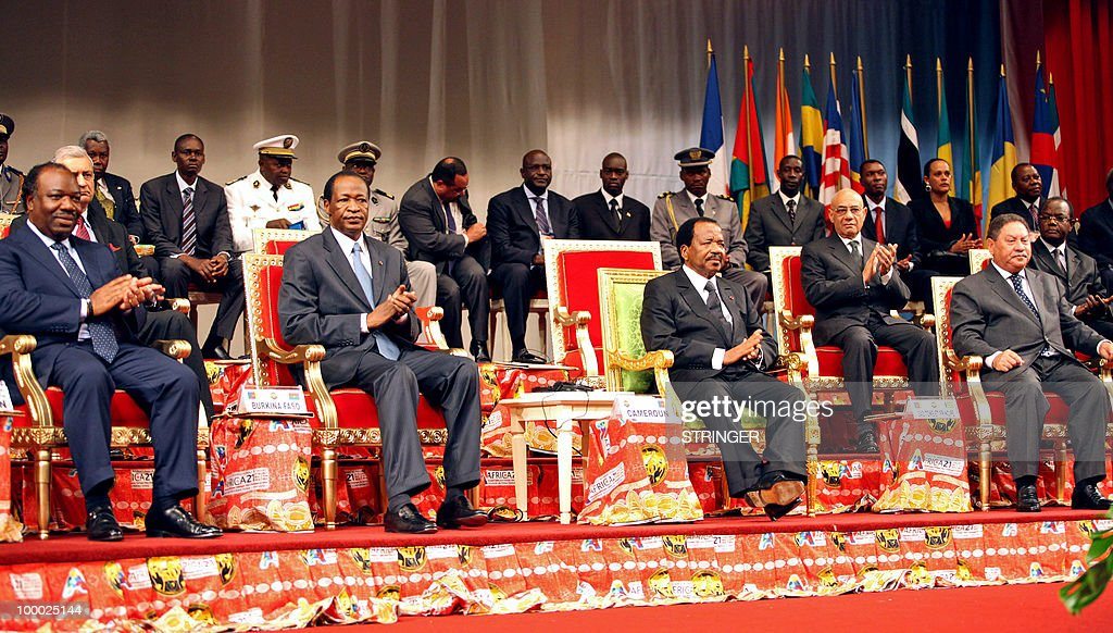 Gabonese President Ali Bongo Ondimba, Burkina Faso's President Blaise Compaore, Cameroonese President Paul Biya and President Fradique de Menezes from Sao Tome and Principe attend a celebrations of the 50th anniversary of the independance of Cameroon, in Yaounde on May 20, 2010. Over 5 thousand people participated in the parade marking the climax of the celebration to which 10 African heads of state came to honour.