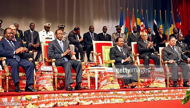 Gabonese President Ali Bongo Ondimba Burkina Faso's President Blaise Compaore Cameroonese President Paul Biya and President Fradique de Menezes from...