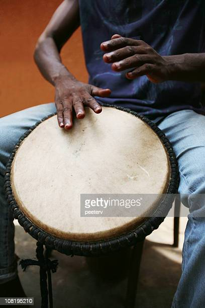African Man Drumming