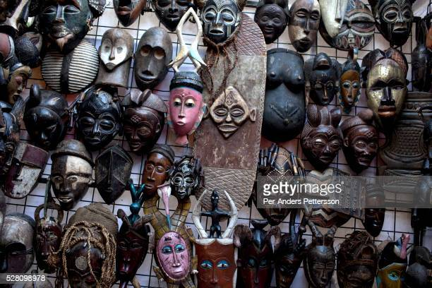 African masks at Greenmarket Square market area on March 21 2012 in Cape Town South Africa