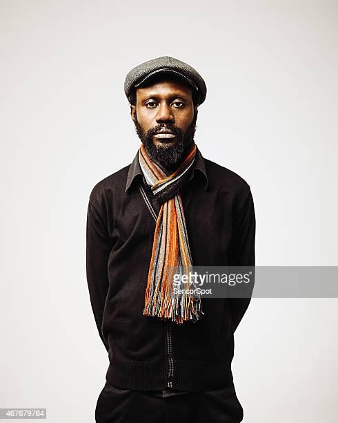 Afrikanischer mittleren Alter Mann Porträt mit Bart.