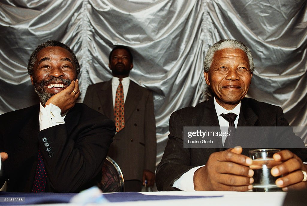 African National Congress leader Thabo Mbeki and Nelson Mandela meeting with students.