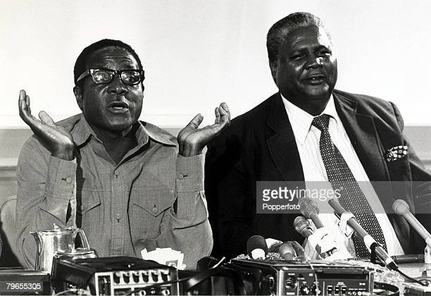 14th March 1978 Robert Mugabe left and Joshua Nkomo pictured together during talks on Rhodesia at the Foreign Office in London