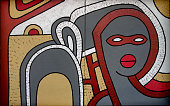 African portrait original painting on canvas. Abstract pattern outlined style. Double board artwork. Made by me.