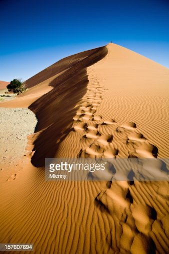 African Sand Dune with Footprints Namibia