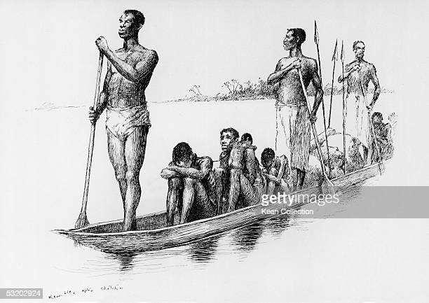 African slave traders transport shackled captives in a dugout canoe to sell them downriver as slaves Congo Free State 1890 The original illustration...