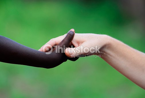 African Symbol Of Love Black And White Holding Hands Stock Photo