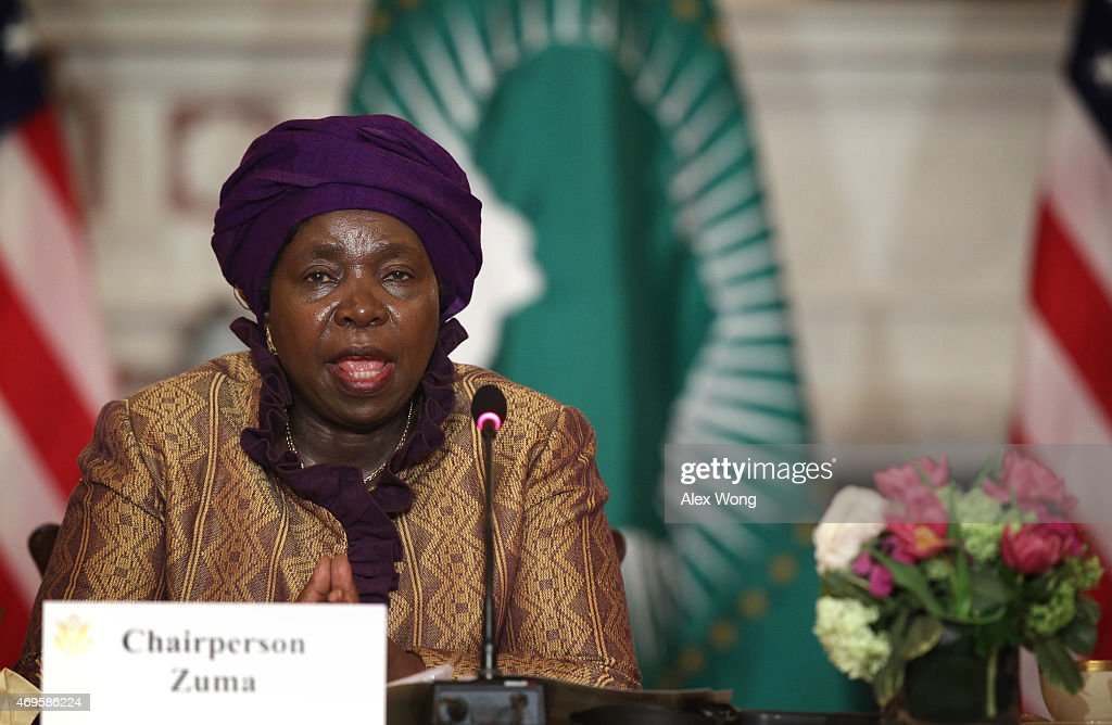 African Union Commission Chairperson Nkosazana Dlamini Zuma delivers remarks during the opening of the African Union Commission High Level Dialogue April 13, 2015 at the State Department in Washington, DC. U.S. Secretary of State John Kerry and Dlamini Zuma signed a Memorandum of Cooperation, through which the U.S. CDC will provide technical expertise to the African Union to support establishing an African Surveillance and Response Unit and an Emergency Operations Center within the African CDC.