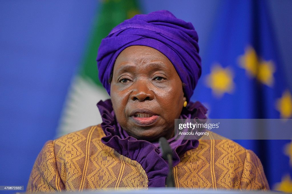 African Union Commission (AUC) Chairperson <a gi-track='captionPersonalityLinkClicked' href=/galleries/search?phrase=Nkosazana+Dlamini-Zuma&family=editorial&specificpeople=752696 ng-click='$event.stopPropagation()'>Nkosazana Dlamini-Zuma</a> speaks during a joint press conference after the 7th annual College-to-College meeting between the EC and AUC at the European Commission headquarters in Brussels, Belgium on April 22, 2015.