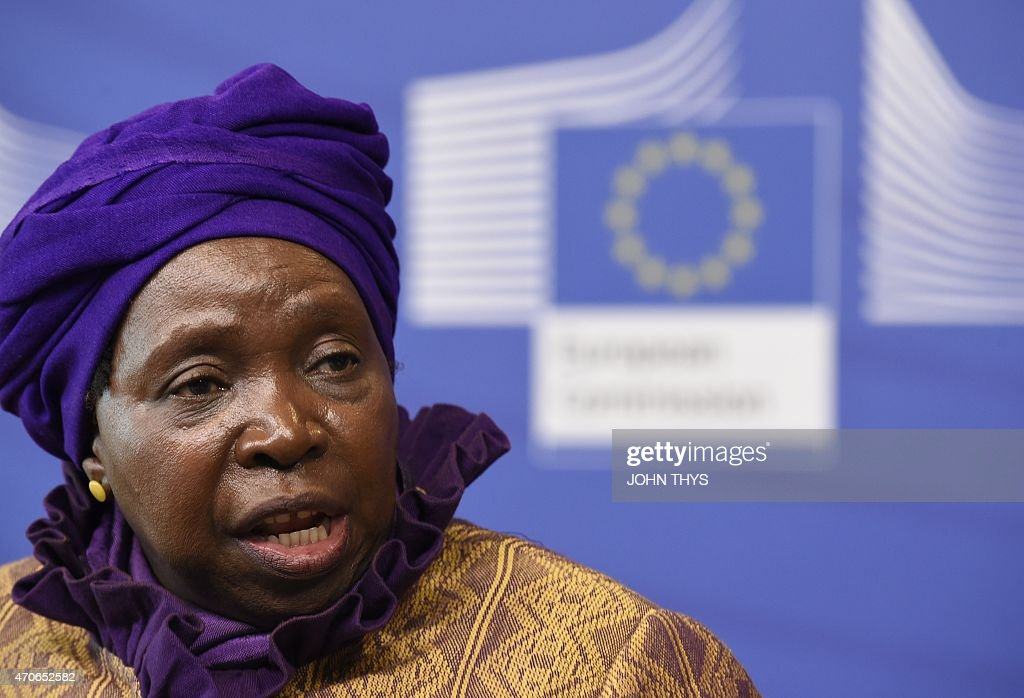 African Union Commission's president <a gi-track='captionPersonalityLinkClicked' href=/galleries/search?phrase=Nkosazana+Dlamini-Zuma&family=editorial&specificpeople=752696 ng-click='$event.stopPropagation()'>Nkosazana Dlamini-Zuma</a> talks during a joint press conference with European Commission's president on April 22, 2015 after their bilateral meeting at EU headquarters in Brussels.
