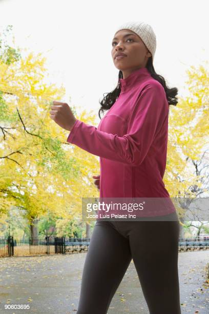 African woman jogging