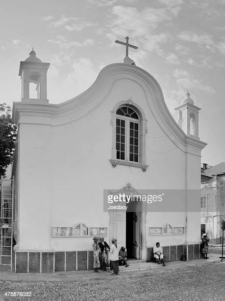 African Women  Socializing At Mindelo Church