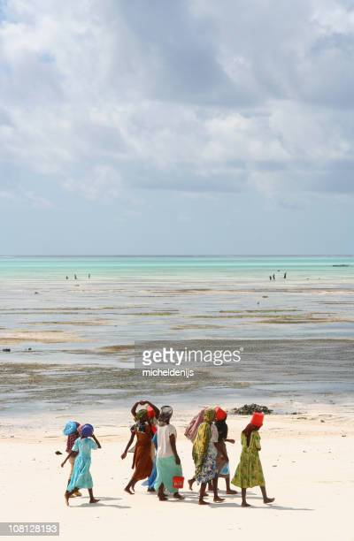 African Women Walking on Beach in Zanzibar