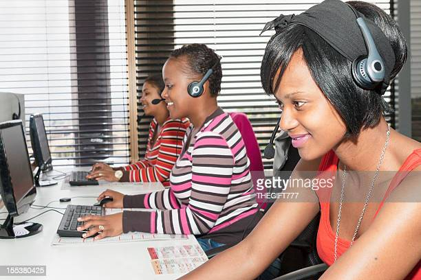 African young ladies at a call centre in South Africa