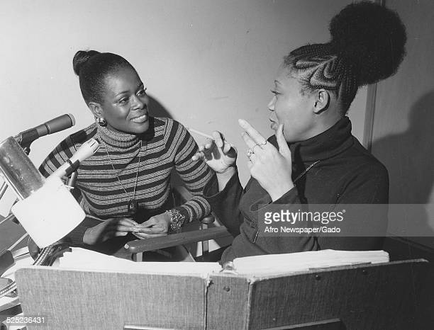 AfricanAmerican actress Cicely Tyson and Vy Higginsen during a radio show January 4 1974