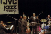 AfricanAmerican cellist composer and conductor Kermit Moore leads the Classical Heritage Ensemble with James Moody on alto saxophone at the JVC Jazz...