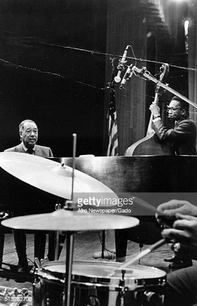 AfricanAmerican composer pianist bandleader and Jazz musician Duke Ellington and a Jazz orchestra during a concert 1970