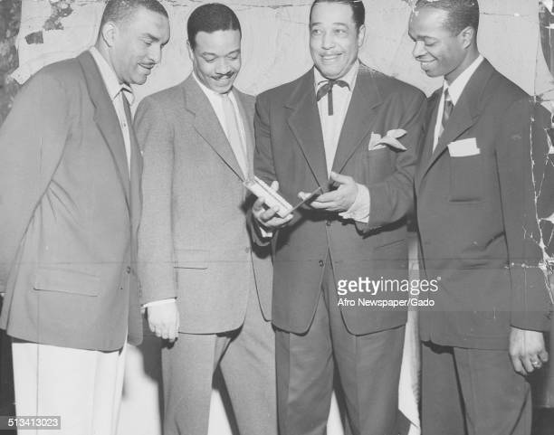 AfricanAmerican composer pianist bandleader and Jazz musician Duke Ellington receiving an award 1960