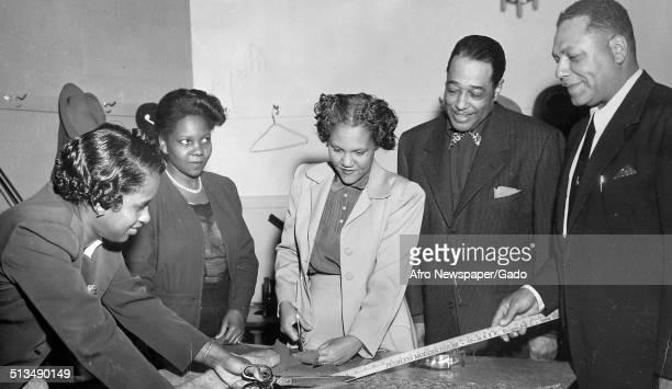 AfricanAmerican composer pianist bandleader and Jazz musician Duke Ellington at Letcher Art Center Washington DC November 8 1952