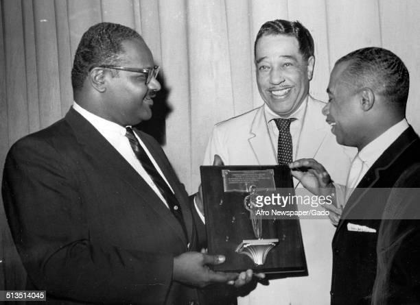 AfricanAmerican composer pianist bandleader and Jazz musician Duke Ellington receiving an award April 28 1962