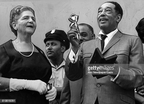 AfricanAmerican composer pianist bandleader and Jazz musician Duke Ellington receiving an award June 5 1962