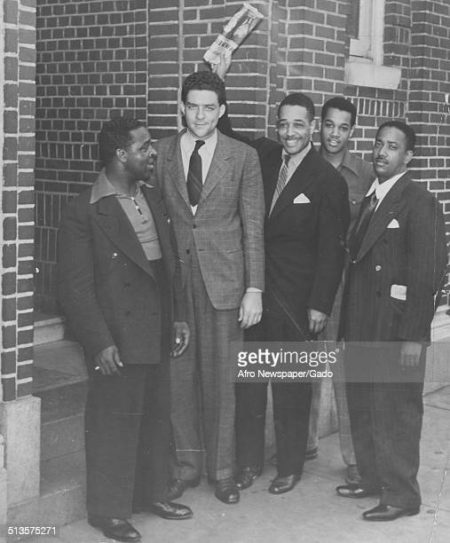 AfricanAmerican composer pianist bandleader and Jazz musician Duke Ellington and AfricanAmerican heavyweight champion boxer Joe Louis New York City...