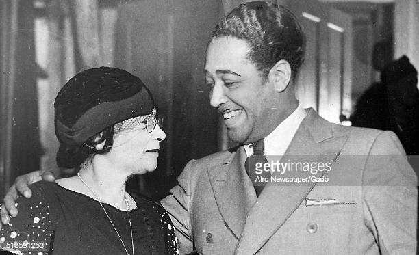 AfricanAmerican composer pianist bandleader and Jazz musician Duke Ellington and woman 1948