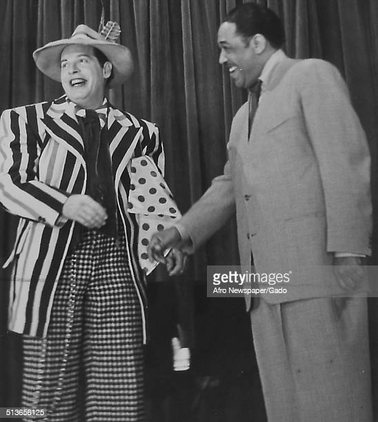 AfricanAmerican composer pianist bandleader and Jazz musician Duke Ellington and Milton Berle during a television show 1960