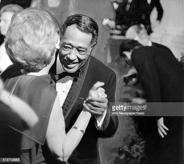 AfricanAmerican composer pianist bandleader and Jazz musician Duke Ellington and Pat Nixon dancing at the White House Washington DC May 2 1969