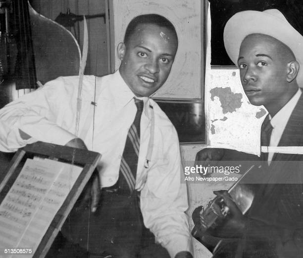 AfricanAmerican jazz vibraphonist pianist percussionist bandleader and actor Lionel Hampton and Charlie Christian 1952