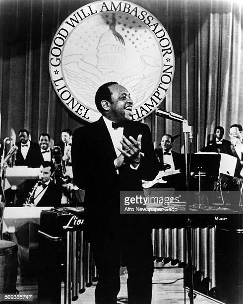 AfricanAmerican jazz vibraphonist pianist percussionist bandleader and actor Lionel Hampton 1980