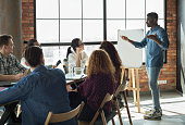 African-american team leader is lecturing his employees in loft office using white board, copy space