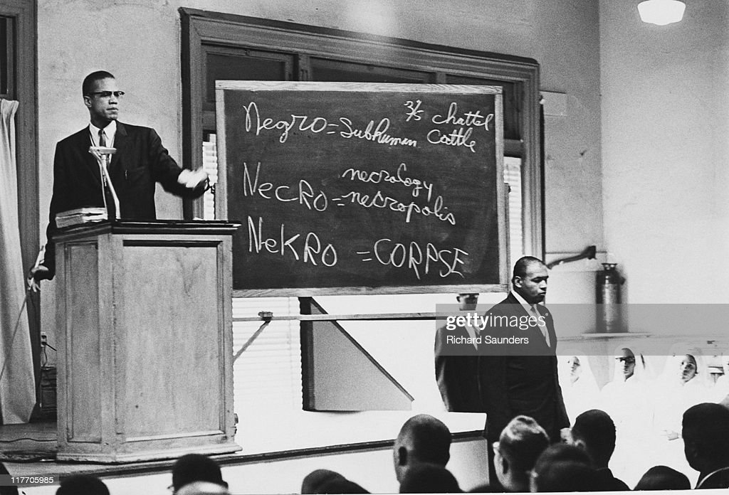 AfricanAmerican Muslim minister and civil rights activist Malcolm X deconstructing the term 'negro' during a sermon at Temple 7 in Harlem New York...