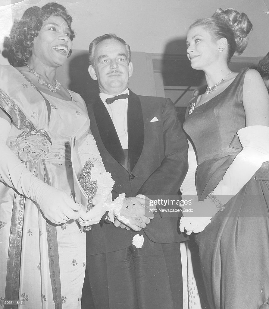 AfricanAmerican singer Marian Anderson actress and former Princess of Monaco Grace Kelly and former Prince of Monaco Rainier III Philadelphia...