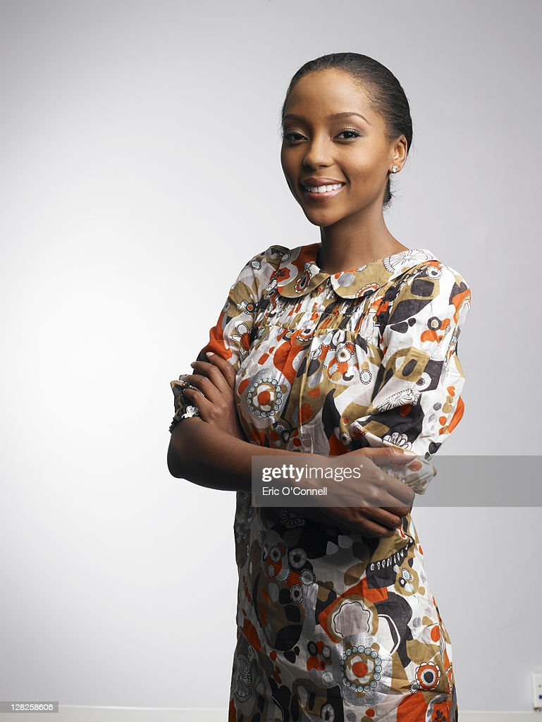 African-American woman in beauty poses : Stock Photo