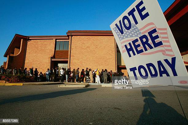AfricanAmericans line up to vote outside Bethel Missionary Baptist Church in the presidential election November 4 2008 in Birmingham Alabama...