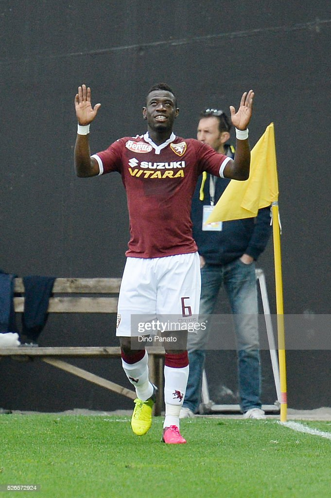 Afriye Acquah of Torino FC celebrates after scoring his team's second goal during the Serie A match between Udinese Calcio and Torino FC at Dacia Arena on April 30, 2016 in Udine, Italy.