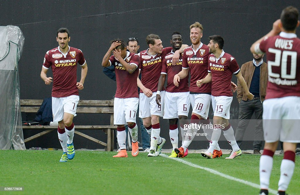 Afriye Acquah of Torino FC celebrates with his team-mates after scoring his team's second goal during the Serie A match between Udinese Calcio and Torino FC at Dacia Arena on April 30, 2016 in Udine, Italy.