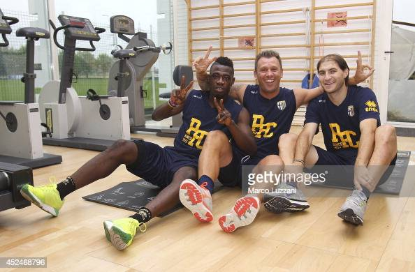 Afriyie Acquah Antonio Cassano and Gabriel Alejandro Paletta of FC Parma pose as they trainsduring FC Parma Training Session at the club's training...